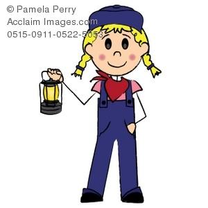 300x300 Clip Art Illustration Of A Stick Figure Train Engineer Girl