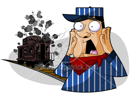 432x324 Stock Illustration Of A Cartoon Train, Conductor, Caboose