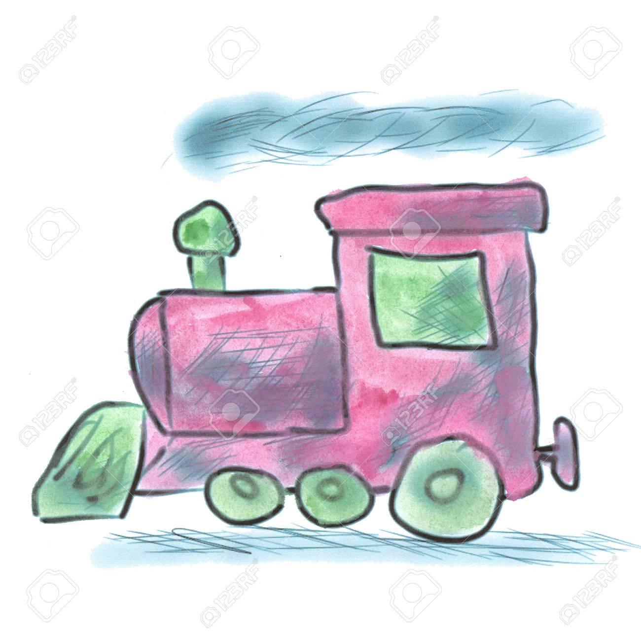 1300x1300 Pink Watercolor Cartoon Train Isolated Handmade Stock Photo
