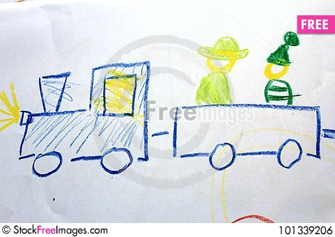 480x340 A Train With Locomotive And Passangers On The Kid`s Drawing