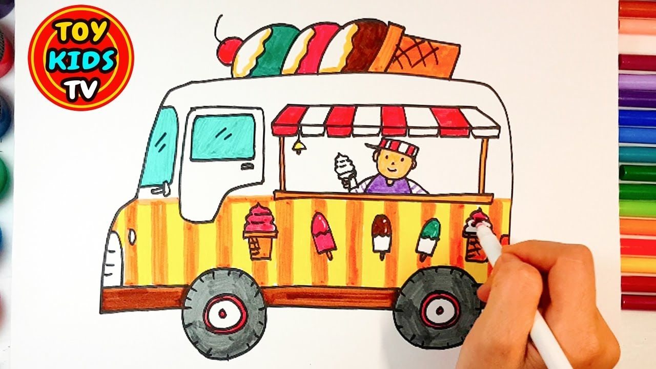 1280x720 Ice Cream Truck And Toy Train Drawing Learn Colour Painting