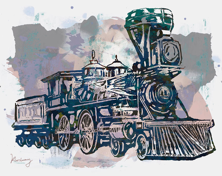 900x714 Classical Steam Train Stylized Pop Art Poster Drawing By Kim Wang