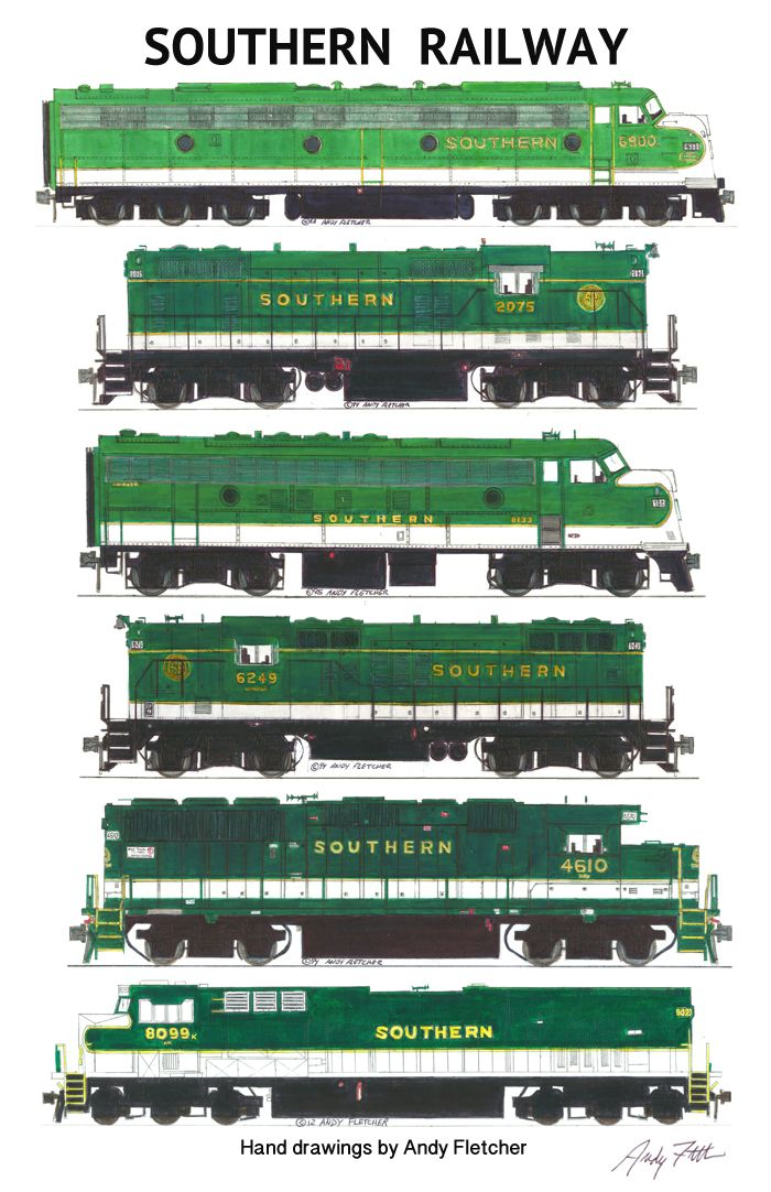 700x1082 6 Hand Drawn Southern Railway Green Locomotive Drawings By Andy