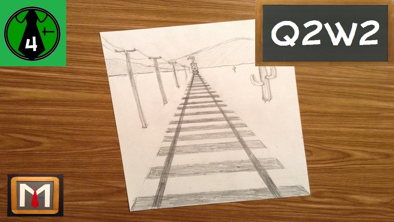 1280x720 Using One Point Perspective To Draw Railroad Tracks