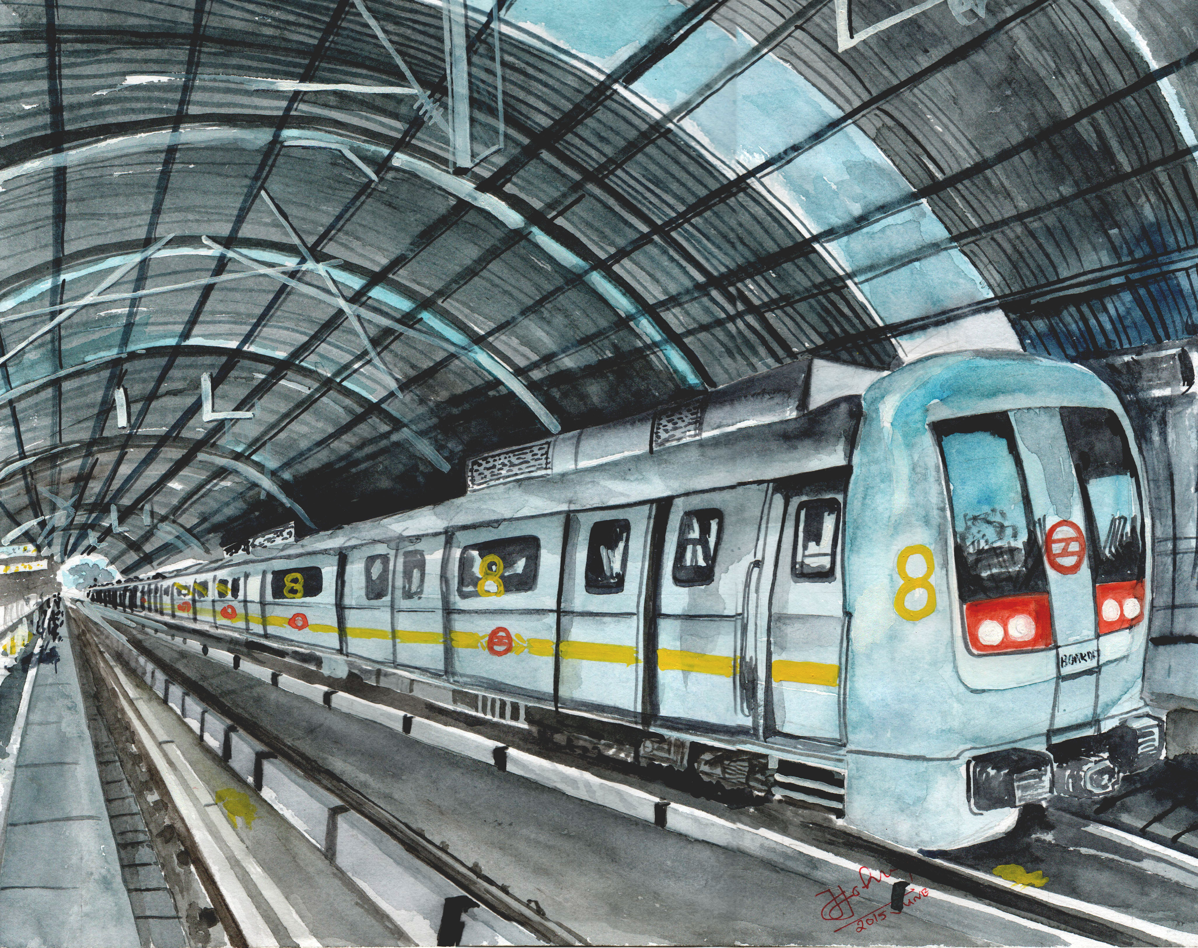 4107x3249 My Water Colour Drawing Metro Station New Delhi