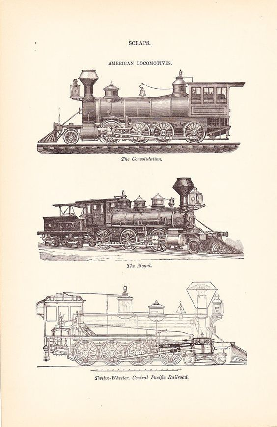 564x869 1892 Locomotives Technical Drawings. Trains