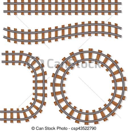 450x460 Passenger Train Vector Rail Tracks Brush, Railway Line Or Eps