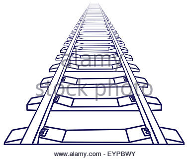 378x320 Perspective View Of Straight Train Track. Sketch Outlines Stock