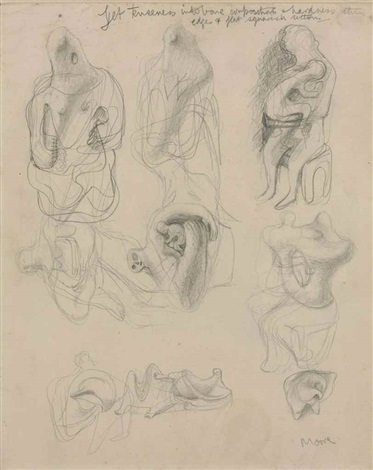373x470 Ideas For Sculpture, Transformation Drawing By Henry Moore On Artnet