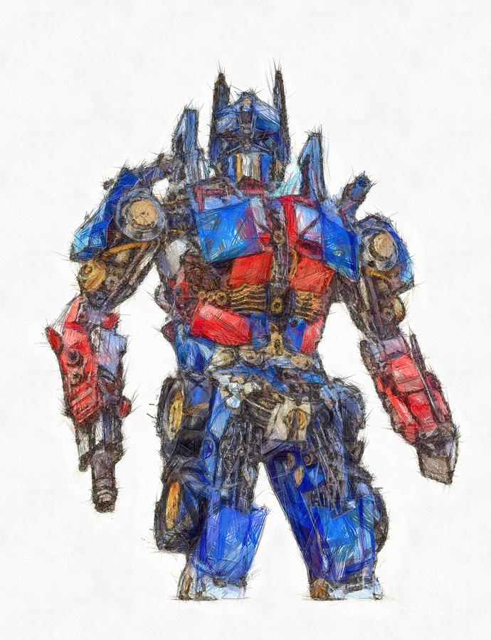 690x900 Transformers Optimus Prime Or Orion Pax Colored Pencil Drawing By