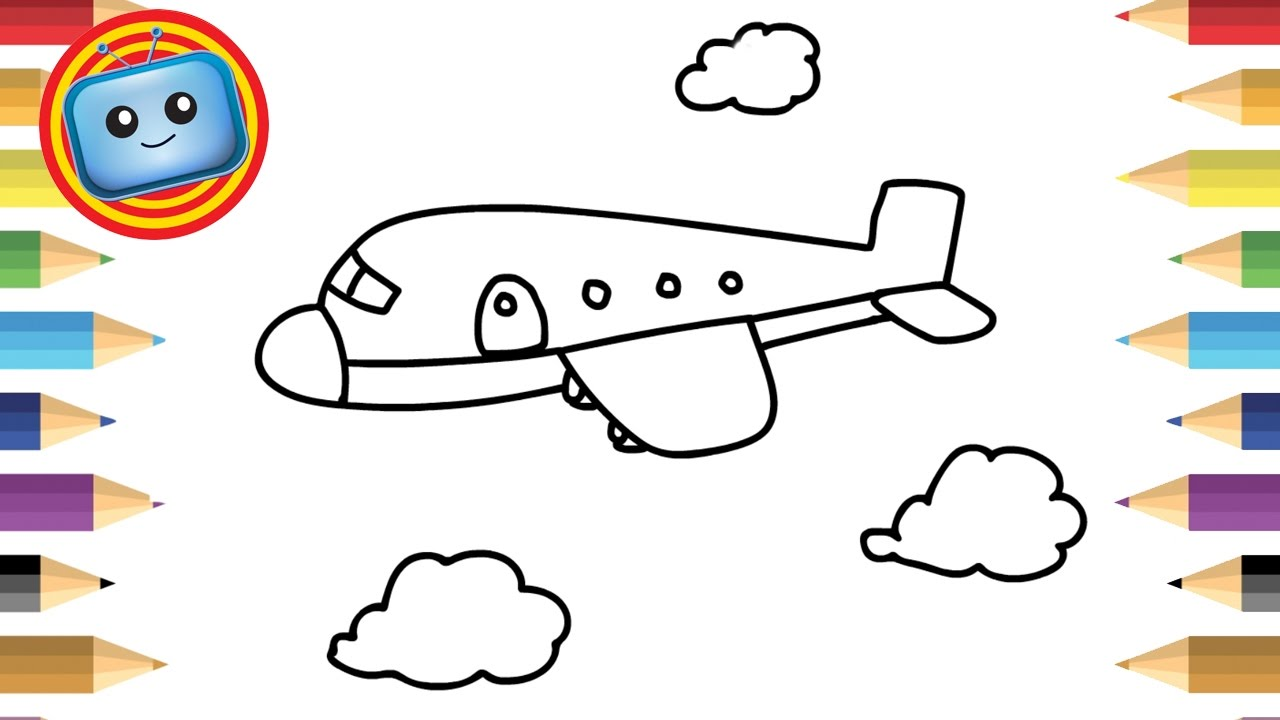 1280x720 How To Draw An Airplane Simple Drawing Game For Kids Colouring