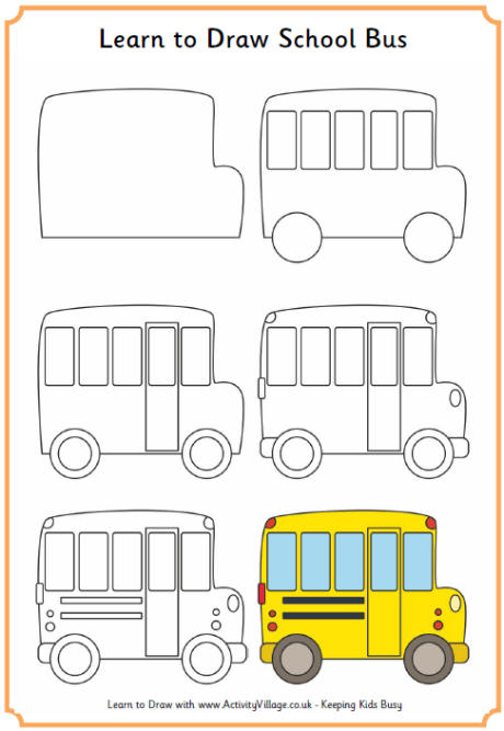 460x667 Learn To Draw A School Bus. How To Doodle Follow For More