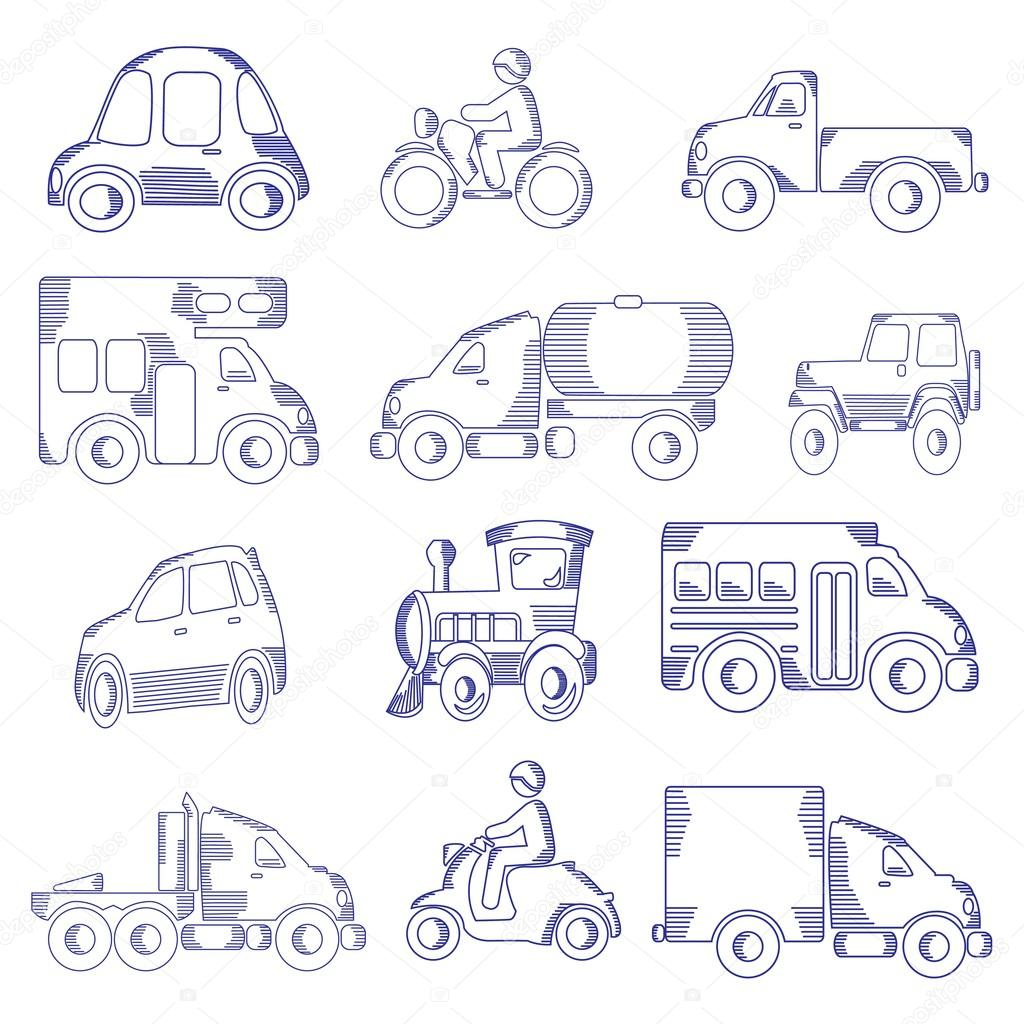 1024x1024 Sketching Of Transportation Icons Stock Vector Candystripe