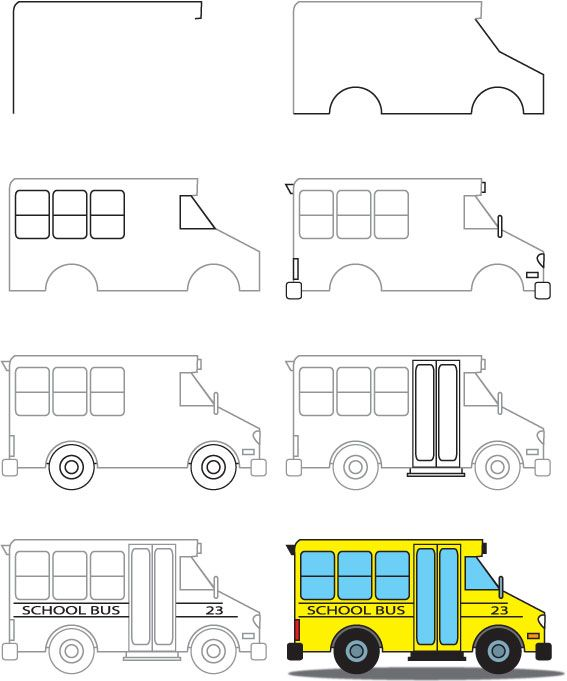 567x681 How To Draw A School Bus Drawings School Buses