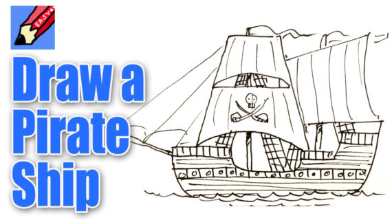 570x320 Drawing A Pirate Ship How To Draw A Pirate Ship, Step By Step