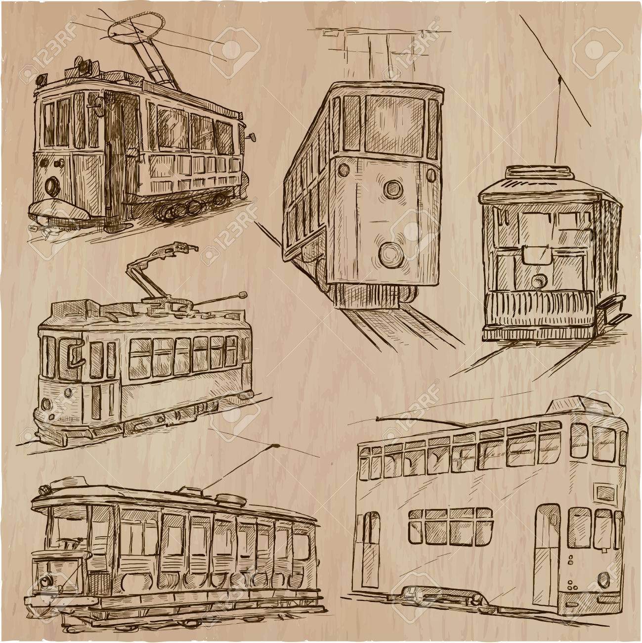 1299x1300 Transport Set. Tramways. Transportation By Tram. Collection