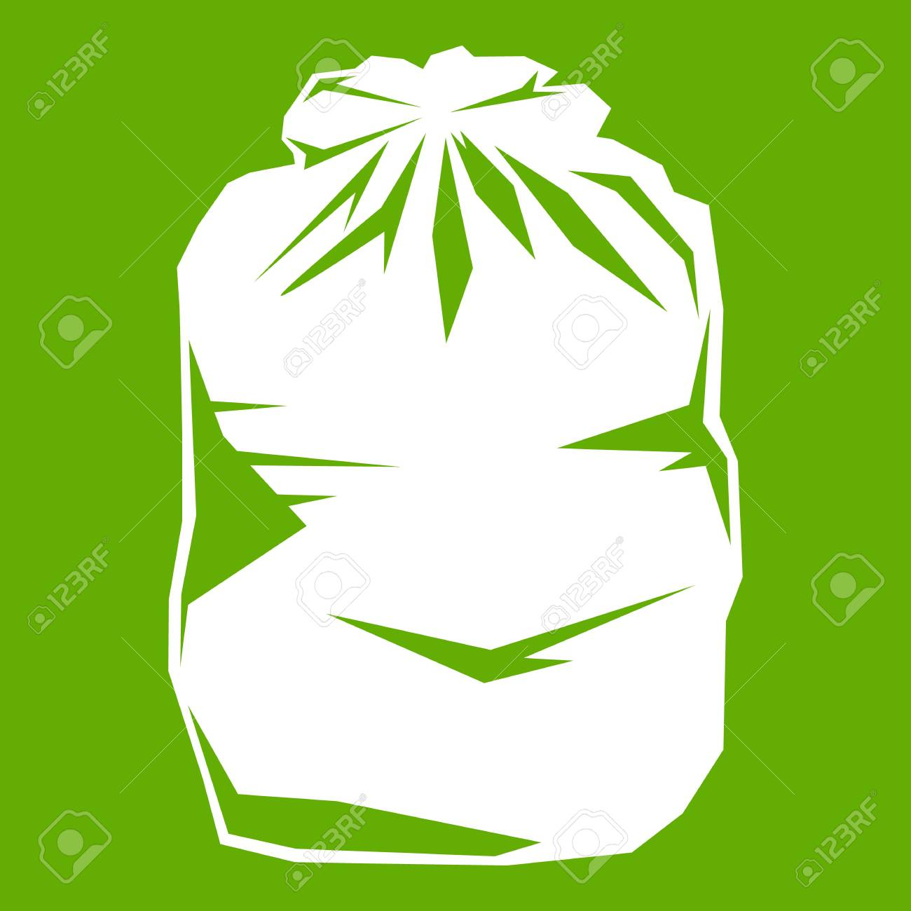 1300x1300 Black Trash Bag Icon White Isolated On Green Background. Vector