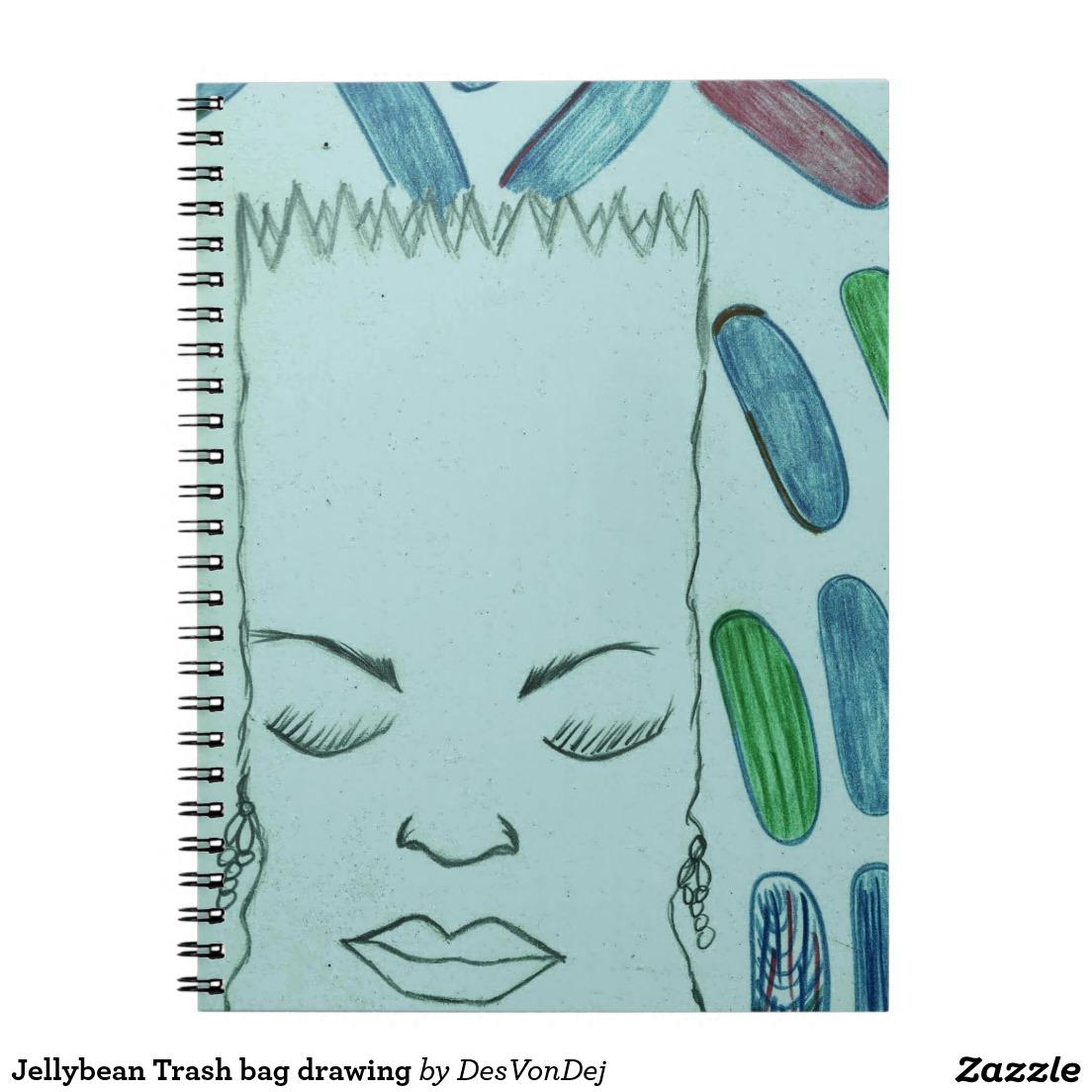 1104x1104 Jellybean Trash Bag Drawing Spiral Notebook Perfect Holiday
