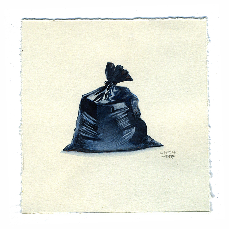 800x800 Trash Bag Watercolor On Paper, 4x4 (Sold