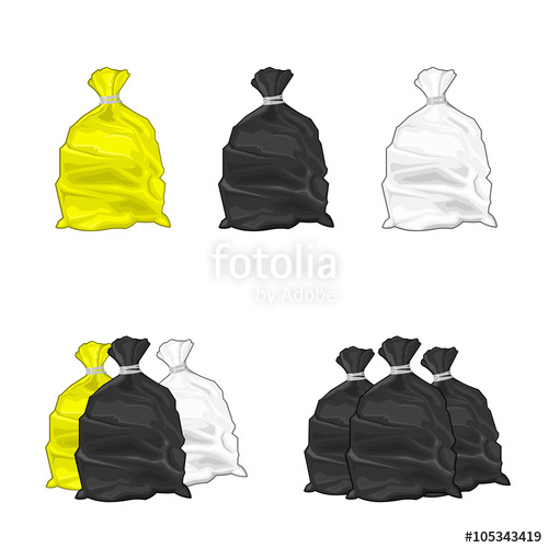 500x500 Vector Illustration Icon Of Plastic Garbage Bags. Generic Tied