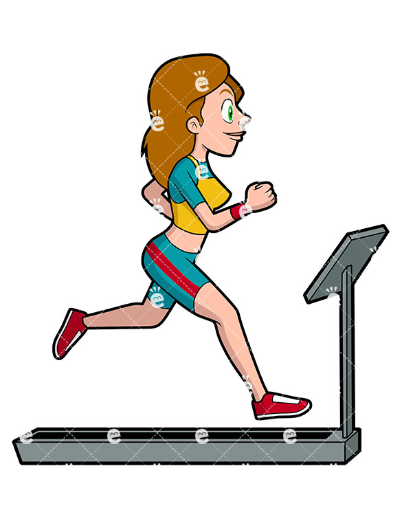 585x755 A Woman Running On A Treadmill Vector Clipart