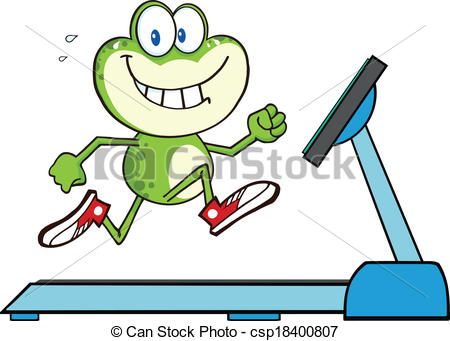 450x341 Healthy Green Frog Running On A Treadmill Illustration Vector