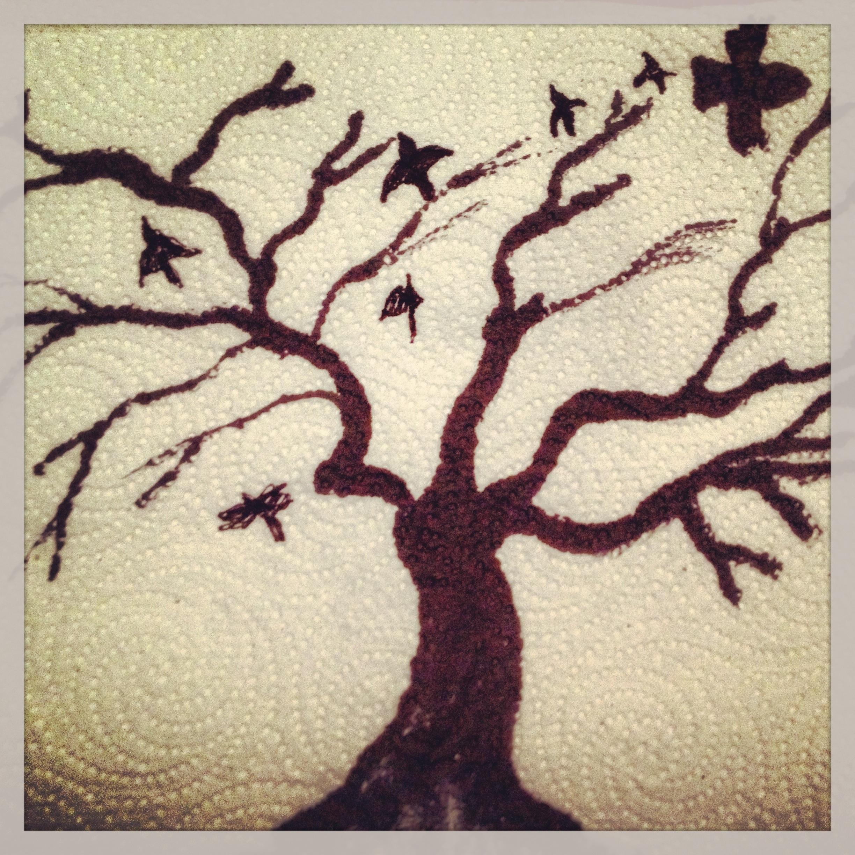 2448x2448 Bird Tree Drawing Paper Towel Lunch Art