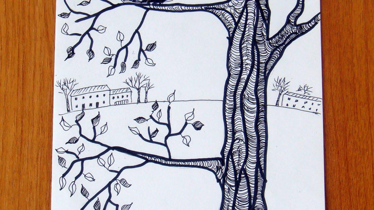 1280x720 Draw A Tree With A Bird's Nest