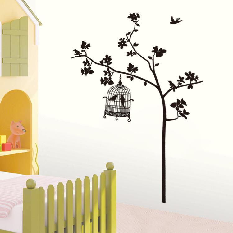 750x750 Jm7026 Removable Wall Stickers Tree And Bird Cage Living Room Tv