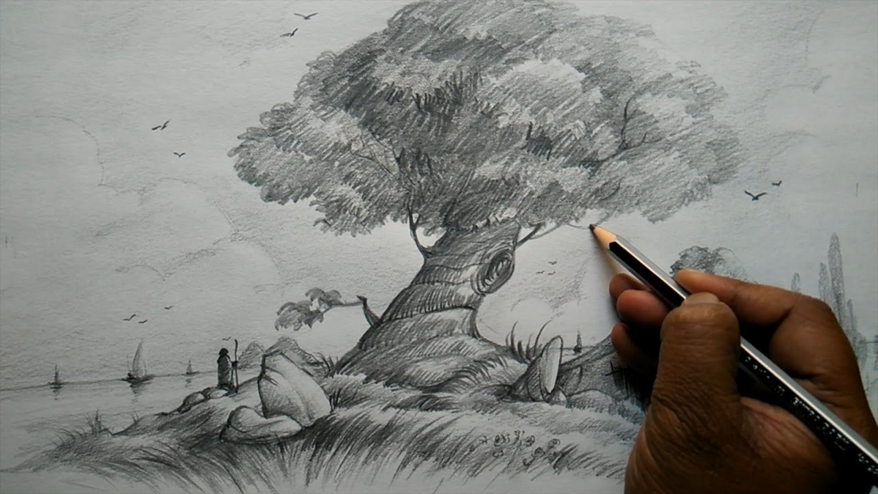 1280x720 How To Draw A Tree And House With Composition For Beginners