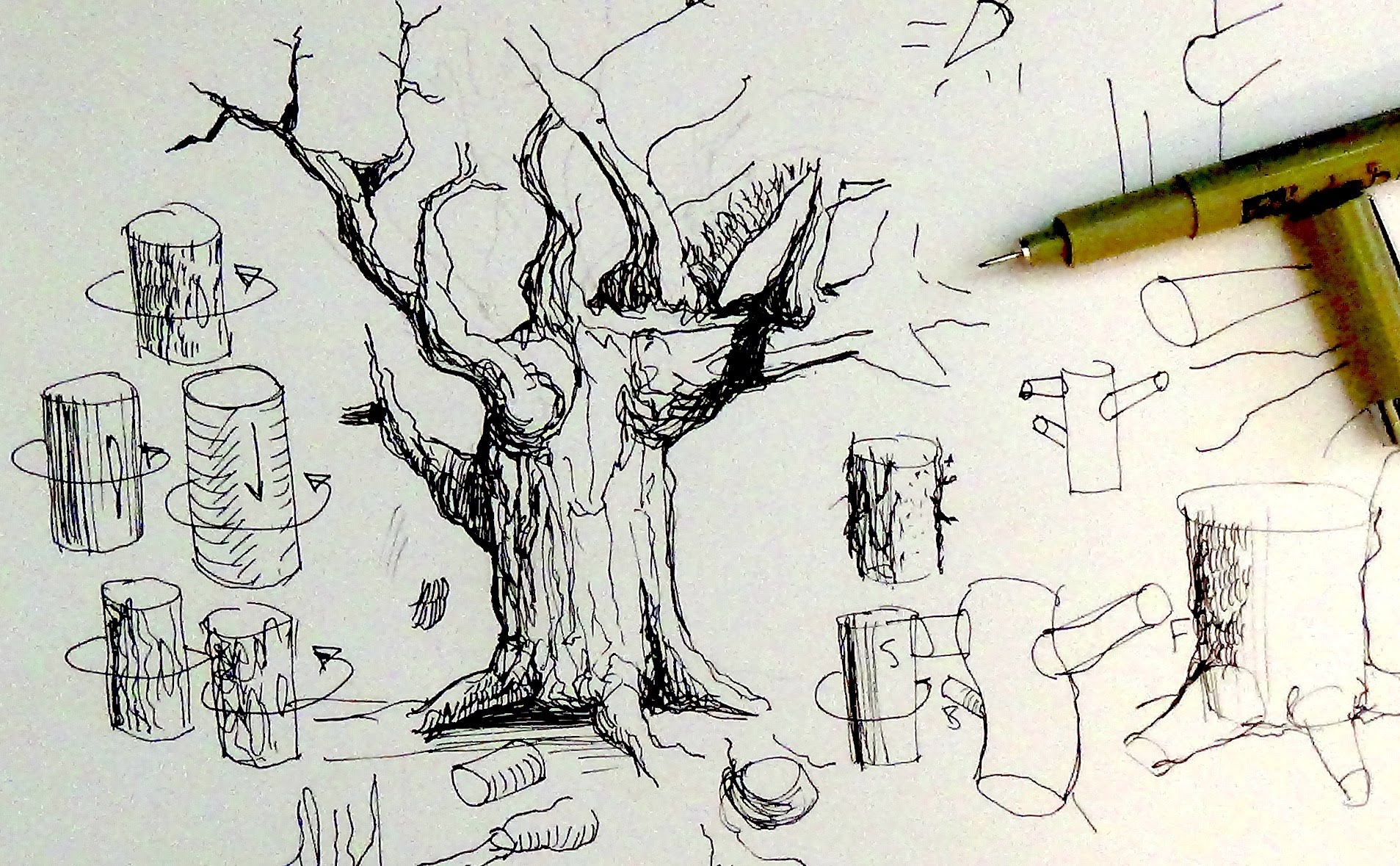 1907x1179 Pen Amp Ink Drawing Tutorials How To Draw Tree Trunks Amp Branches