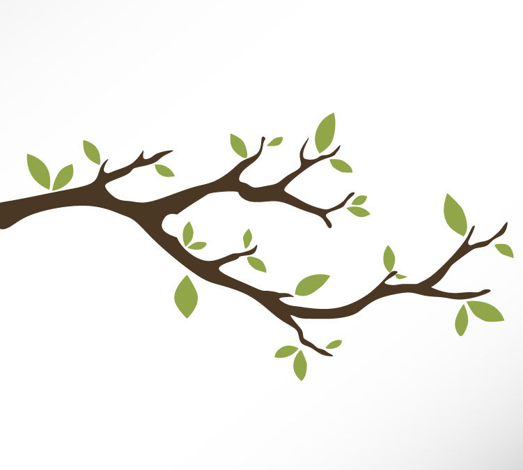 751x674 Tree Branch Vinyl Wall Decal Sticker Leaves Modern Contemporary