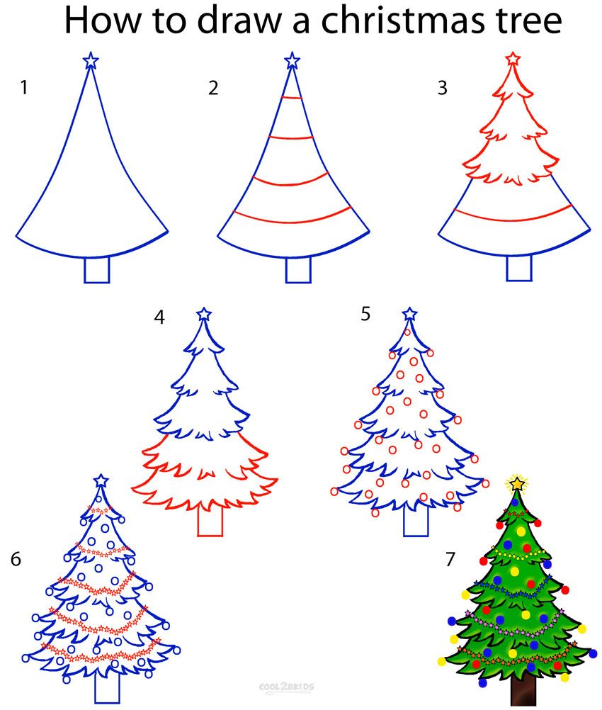 850x1002 How to Draw a Christmas Tree Step by Step Drawing Tutorial with