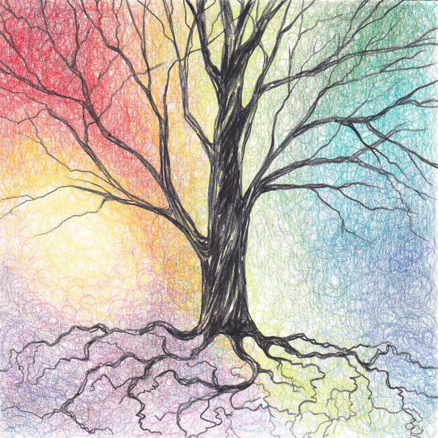 900x900 Colored Pencil Tree Color Pencil Art, Pencil Art And Drawing Trees