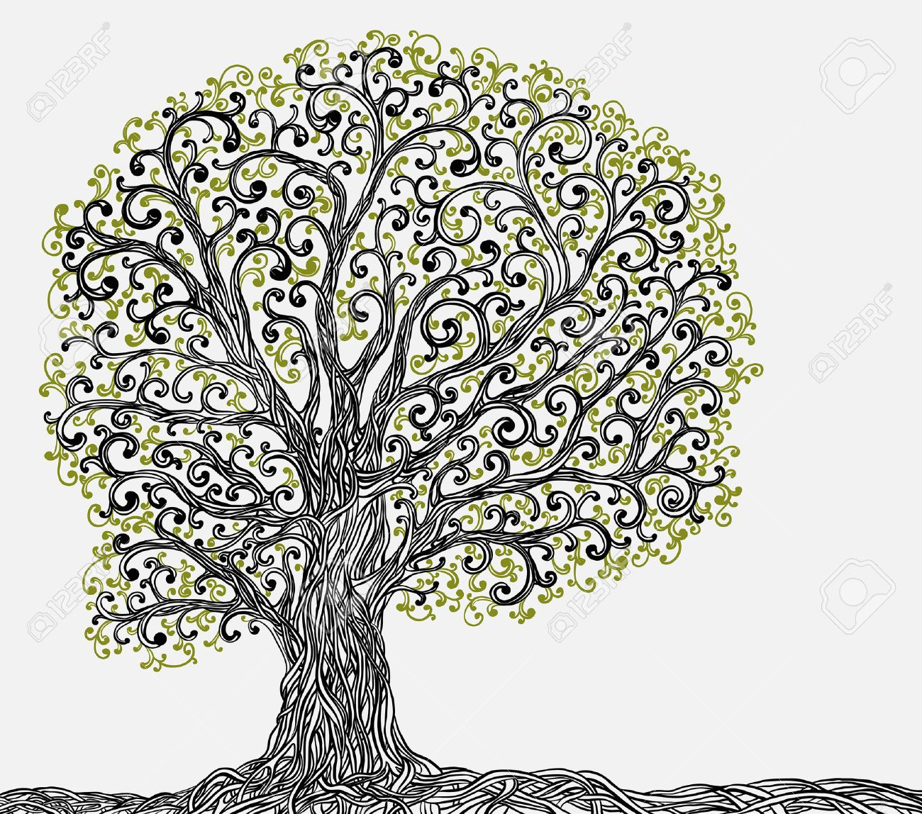 1300x1148 Spring Graphic Tree With Twisted Roots Royalty Free Cliparts
