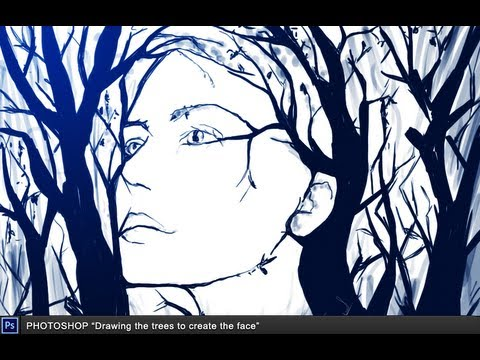 480x360 Photoshop Drawing The Trees To Create The Face