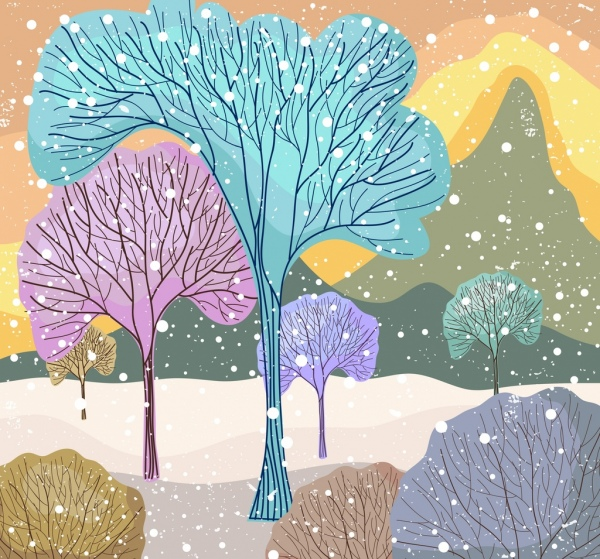 600x559 Cold Winter Drawing Leafless Trees Colorful Flat Decor Free Vector