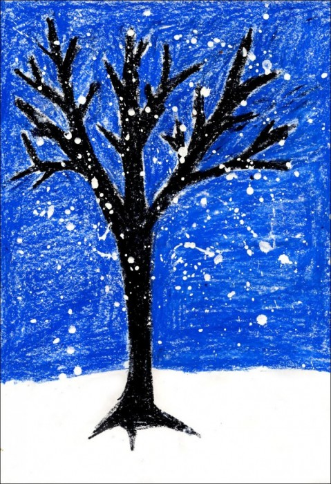 479x700 Snowy Winter Tree Painting Tree Art, Pastels And Tempera
