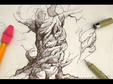 480x360 Pen And Ink Drawing Tutorials How To Draw A Spiraling Tree