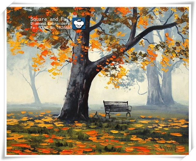 640x527 Autumn Tree Landscape Diamond Embroidery Icons Drawing Numbers