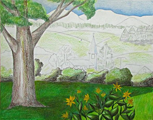 588x460 Color Pencil Landscape Drawing