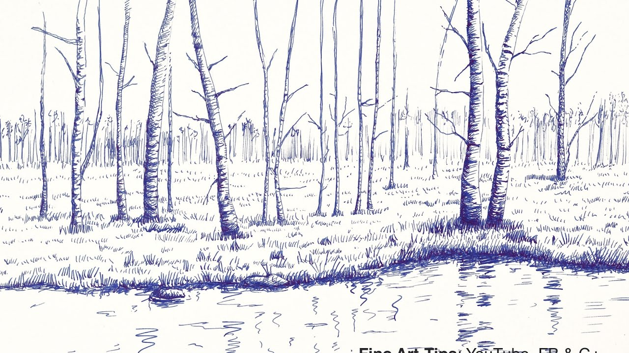 1280x720 How To Draw A Landscape With Trees And Lake, With Fountain Pen