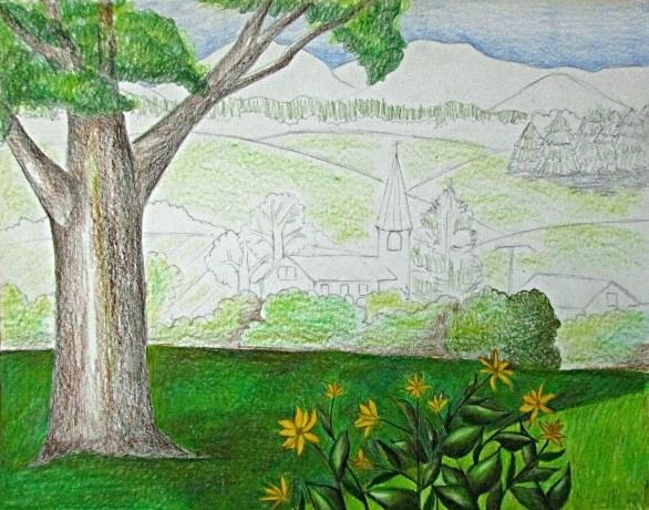 586x460 Easy Landscape Drawing For Beginners Mreza.club