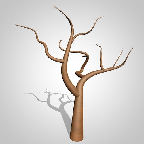 500x500 3d Model Cartoon Tree With No Leaves Cgtrader