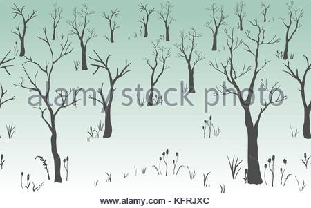 450x301 Trees With No Leaves. Continuous Pattern. Partly Seamless. Vector