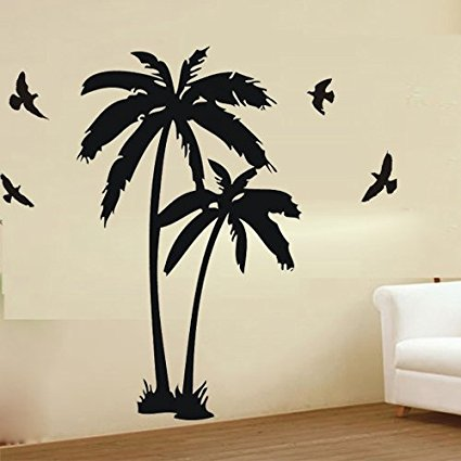 425x425 23.6 X 47.2 Palm Coconut Tree With Birds Diy Vinyl Lettering
