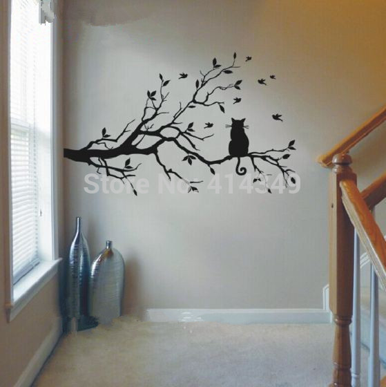 559x560 Cat Thinking On The Tree Wall Stickers Decoration Decor Home Decal
