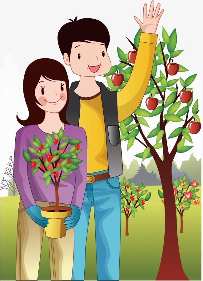 650x901 Cartoon Couple Tree Planting, Arbor Day, Character, Cartoon