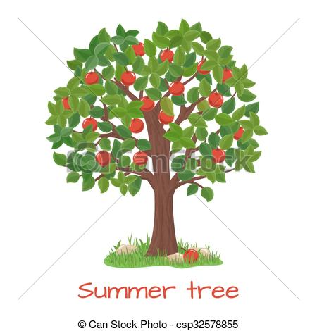 450x470 Green Apple Tree. Summer Tree Vector. Green Apple Tree . Clipart