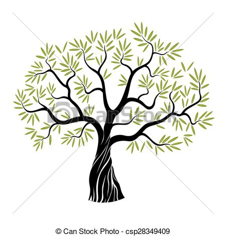 450x470 Vector Olive Tree. Vector Color Olive Tree With Green Leafs Vector